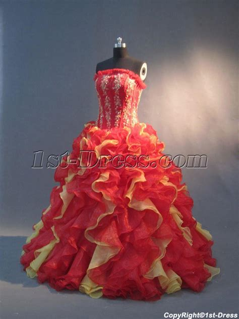 red  yellow unique  quinceanera gowns img st