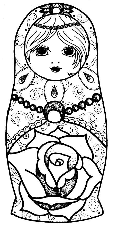 Items similar to A4 CARD PRINT Russian Doll dotwork