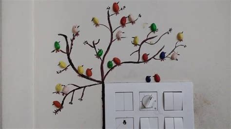 pista shell bird  wall decoration simple