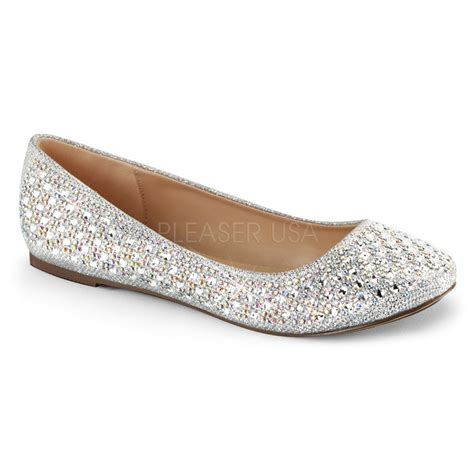 flat silver shoes pleaser treat 06 silver shimmer iridescent rhinestone