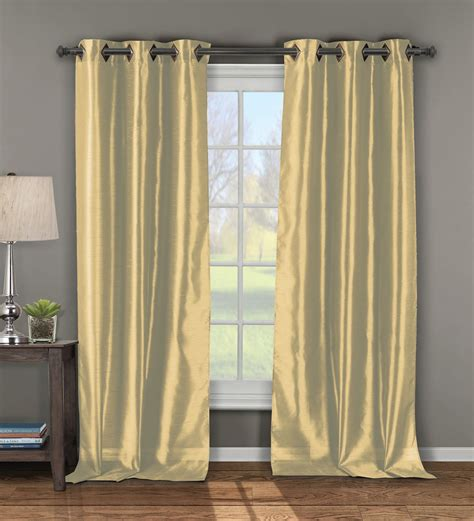 pair of andreas gold faux silk window curtain panels w