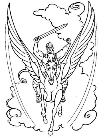 pegasus  hercules coloring page supercoloringcom