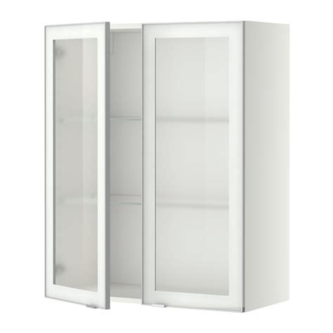 glass fronted wall cabinet metod wall cabinet w shelves 2 glass drs white jutis