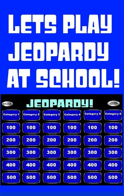 jeopardy powerpoint smartboard template teaching ideas