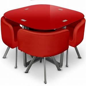 Table Avec Chaise Encastrable : table et 4 chaises mosaic 90 rouge ~ Teatrodelosmanantiales.com Idées de Décoration