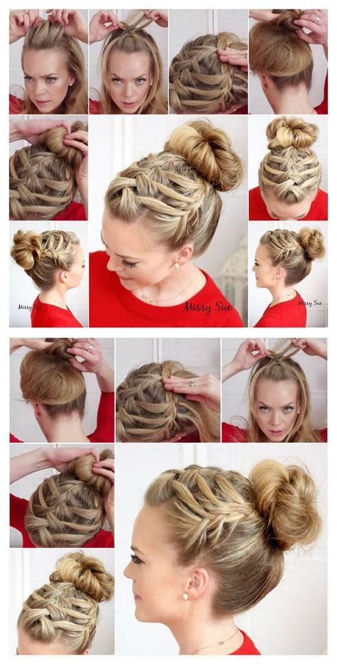 triple french braid double waterfall hairstyle tutorial