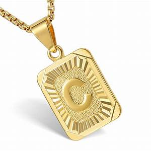 mens women chain gold filled pendant necklace square With gold letter pendants for men