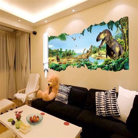 deco chambre dinosaure pas cher 3d dinosaur stickers muraux pour chambre d