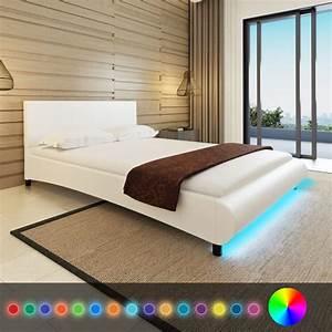 Lit 140 X 200 : acheter lit en cuir artificiel 140 x 200 cm avec bande led blanc matelas pas cher ~ Teatrodelosmanantiales.com Idées de Décoration