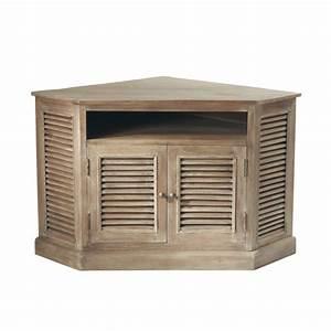 Meuble tv d39angle en manguier grise l 75 cm persiennes for Maison du monde meuble tv 2 meuble tv dangle en manguier grise l 75 cm persiennes