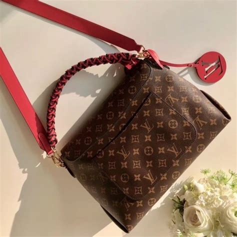 louis vuitton beaubourg mm handbag  monogram canvas  red