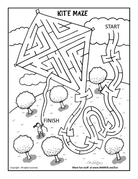 kite maze and coloring page fun printable coloring activity pages pinterest coloring