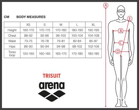 sizing charts arena swimwear