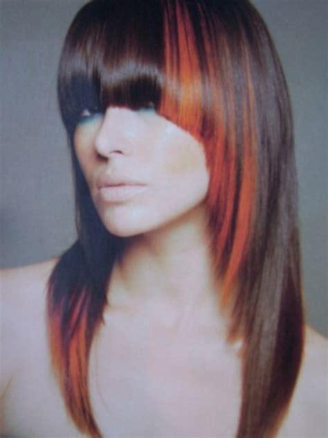 color block hair orange colour block highlights a certain look