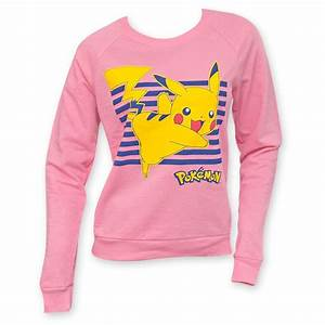 pokemon womens pikachu pink crew neck sweatshirt p