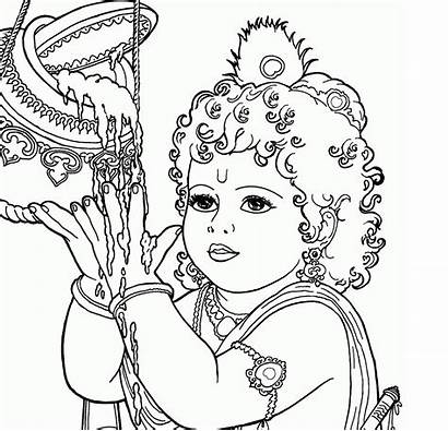 Krishna Drawing Coloring Pages Sketch Lord Colour