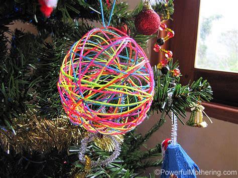 yarn  string ball christmas ornaments  diy craft  kids