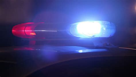 Police Car At Night Flashing Siren Lights Stock Footage