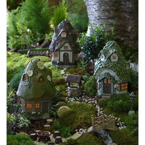 solar fairy house  thatched roof outdoor magical ornament garden ornaments accessories