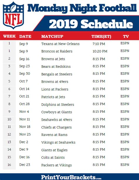 nfl monday night football schedule  printable