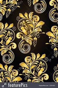Vector Seamless Golden Floral Background