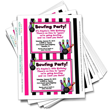 printable bowling party invitation templates