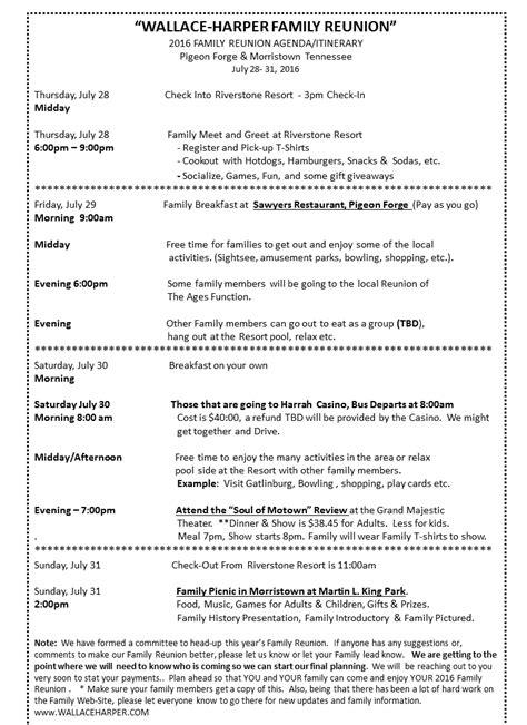 2016 Family Reunion Agenda/Itinerary   Family reunion