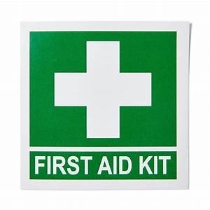 first aid kit sticker with cross 13cm x 13cm brenniston With kitchen cabinets lowes with first aid stickers