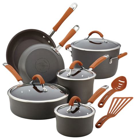rachael cucina anodized 12 cookware set orange contemporary cookware sets