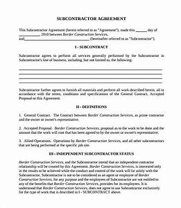 Subcontractor contract template 7 download documents in pdf for Subcontracting contract template