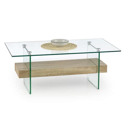 table basse verre bois table basse plateau verre et bois 110x60cm bernis