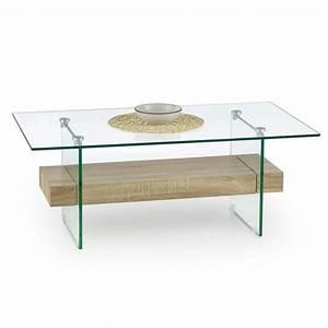 Table Plateau Verre Pied Bois : table basse plateau verre et bois 110x60cm bernis ~ Melissatoandfro.com Idées de Décoration