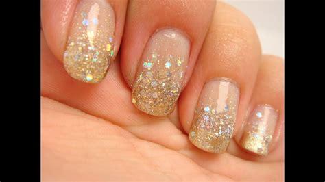 Gold Glitter Gradient Prom Nails