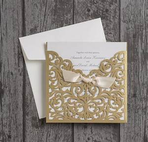 Beautiful laser cut wedding invitations for Gold laser cut wedding invitations uk
