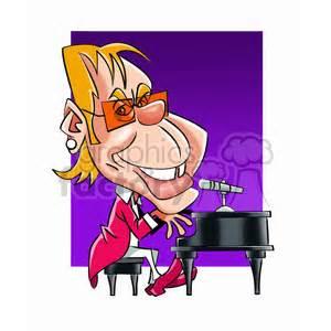 royalty  elton john cartoon character  vector