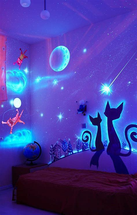 stunning bedroom decor with glow in the dark paint