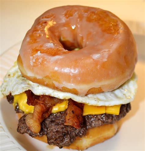 doughnut burger breakfast lunch dinner all in one nacburger s donut burger is a delicious treat yelp