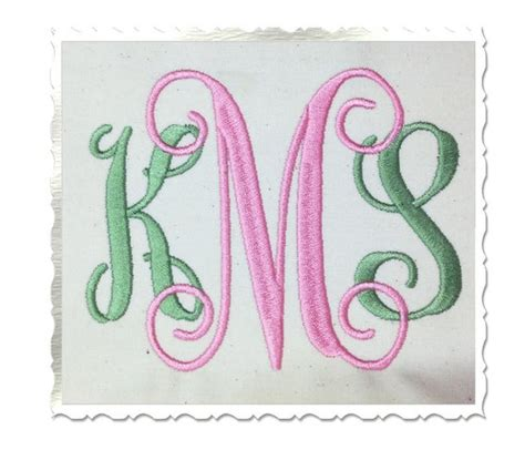 vine monogram machine embroidery font  rivermillembroidery