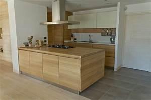 Plan De Travail Ilot : plan de travail cuisine moderne en pierre et bois ~ Premium-room.com Idées de Décoration