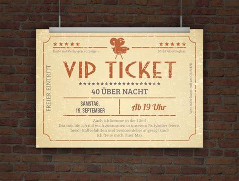 drucke selbst kreative einladungskarte vip ticket retro