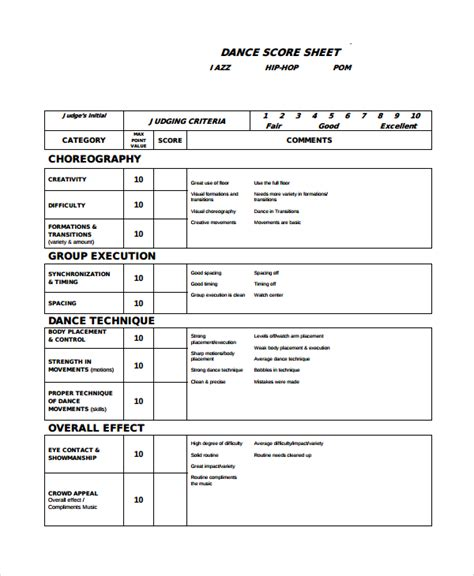 Cheerleading Tryout Judge Sheet