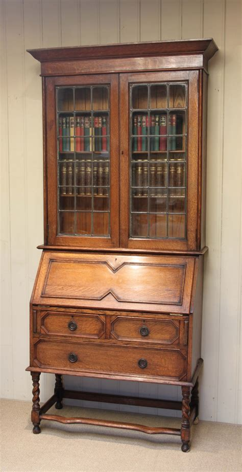 light oak bureau bookcase 235998 sellingantiques co uk