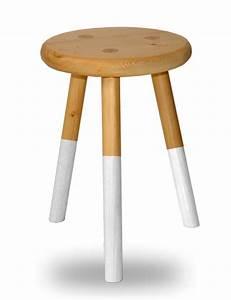 Tabouret Rondin De Bois : tabouret bois rond 3 pieds assise laque blanche en sapin ~ Teatrodelosmanantiales.com Idées de Décoration