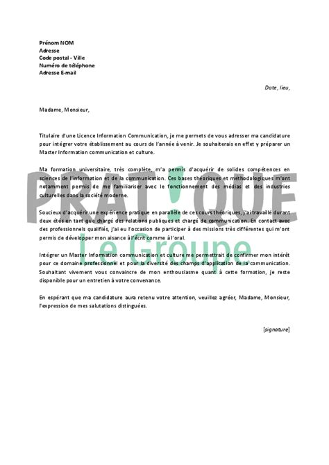 application cuisine lettre de motivation pour un master information