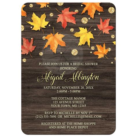 bridal shower invitations falling leaves  gold autumn
