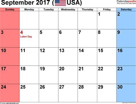 September 2017 Calendar Template September 2017 Calendar Excel Weekly Calendar Template