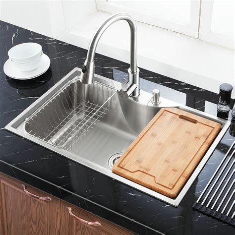 modern kitchen sink top mount  stainless steel single
