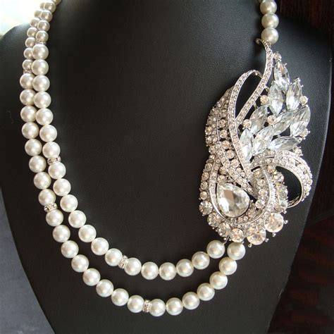 deco pearl necklace deco wedding necklace statement bridal necklace pearl