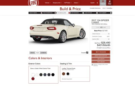 Build Your Own Fiat by Build Your Own 2017 Fiat 124 Spider In Configurator