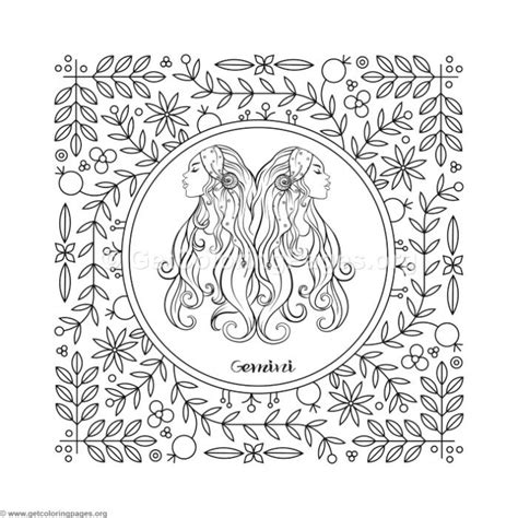 gemini zodiac element coloring pages getcoloringpagesorg